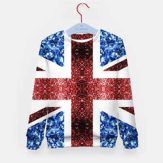Thumbnail image of UK flag red and blue sparkles glitters Kid's sweater, Live Heroes