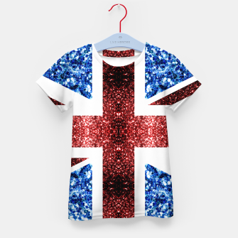 Thumbnail image of UK flag red and blue sparkles glitters Kid's t-shirt, Live Heroes