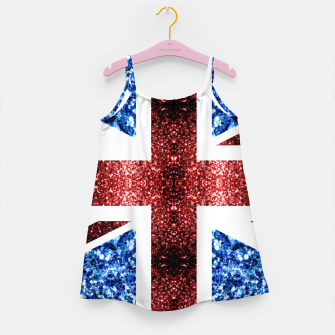 Thumbnail image of UK flag red and blue sparkles glitters Girl's dress, Live Heroes