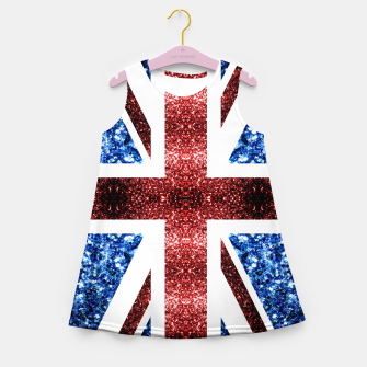 Thumbnail image of UK flag red and blue sparkles glitters Girl's summer dress, Live Heroes