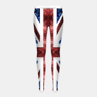 Thumbnail image of UK flag red and blue sparkles glitters Girl's leggings, Live Heroes