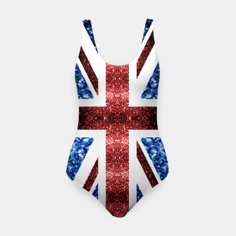 Thumbnail image of UK flag red and blue sparkles glitters Swimsuit, Live Heroes