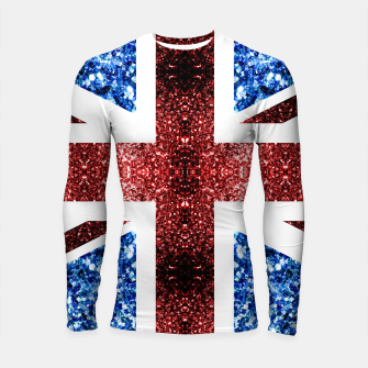 Thumbnail image of UK flag red and blue sparkles glitters Longsleeve rashguard , Live Heroes
