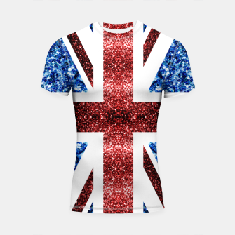 Thumbnail image of UK flag red and blue sparkles glitters Shortsleeve rashguard, Live Heroes