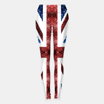 Thumbnail image of UK flag red and blue sparkles glitters Leggings, Live Heroes