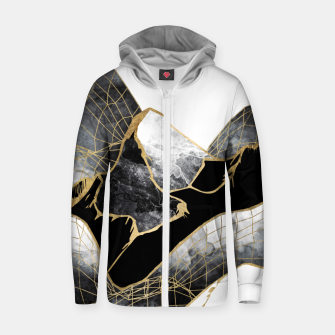 Thumbnail image of Minimal Black and Gold Mountains Cotton zip up hoodie, Live Heroes