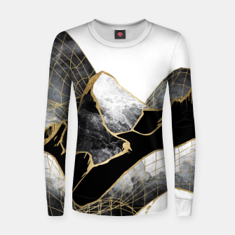 Thumbnail image of Minimal Black and Gold Mountains Woman cotton sweater, Live Heroes