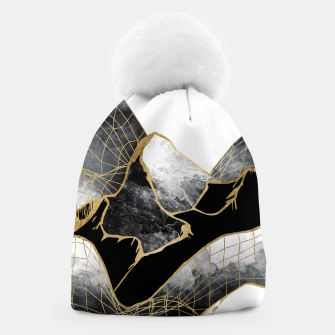 Thumbnail image of Minimal Black and Gold Mountains Beanie, Live Heroes
