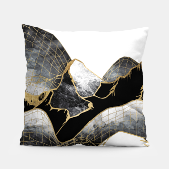 Thumbnail image of Minimal Black and Gold Mountains Pillow, Live Heroes
