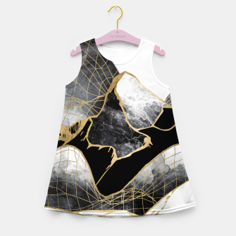 Thumbnail image of Minimal Black and Gold Mountains Girl's summer dress, Live Heroes