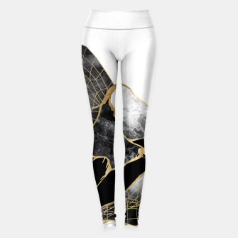 Thumbnail image of Minimal Black and Gold Mountains Leggings, Live Heroes