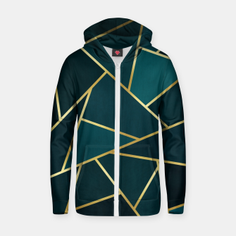Green and gold triangular pattern Cotton zip up hoodie thumbnail image