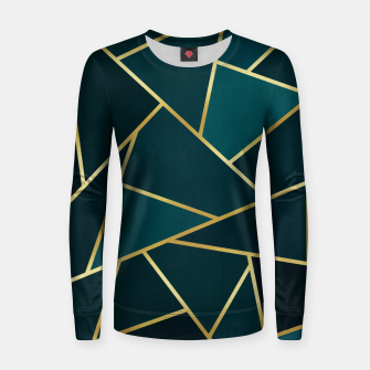 Thumbnail image of Green and gold triangular pattern Woman cotton sweater, Live Heroes