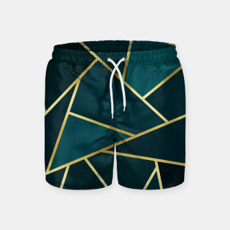 Thumbnail image of Green and gold triangular pattern Swim Shorts, Live Heroes