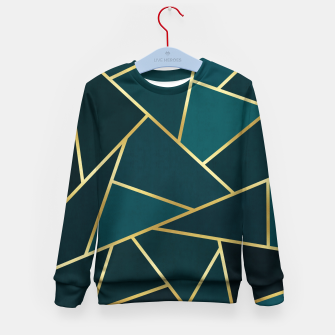 Thumbnail image of Green and gold triangular pattern Kid's sweater, Live Heroes