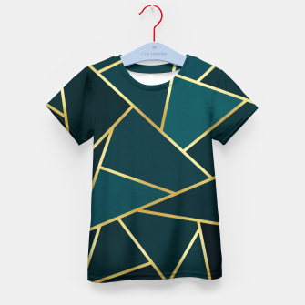 Thumbnail image of Green and gold triangular pattern Kid's t-shirt, Live Heroes