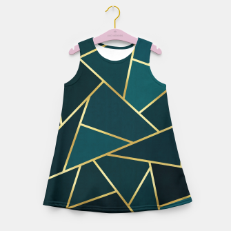 Thumbnail image of Green and gold triangular pattern Girl's summer dress, Live Heroes
