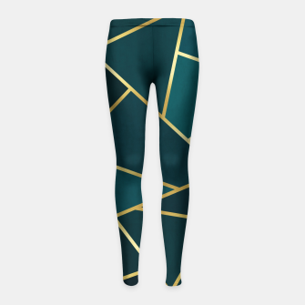 Thumbnail image of Green and gold triangular pattern Girl's leggings, Live Heroes