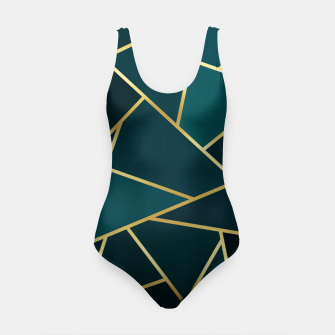Thumbnail image of Green and gold triangular pattern Swimsuit, Live Heroes