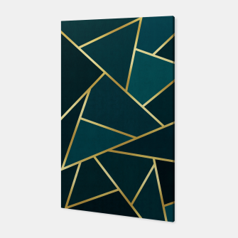 Thumbnail image of Green and gold triangular pattern Canvas, Live Heroes