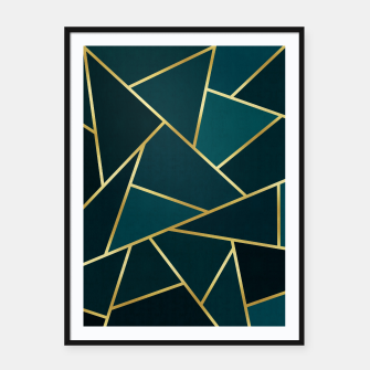 Thumbnail image of Green and gold triangular pattern Framed poster, Live Heroes