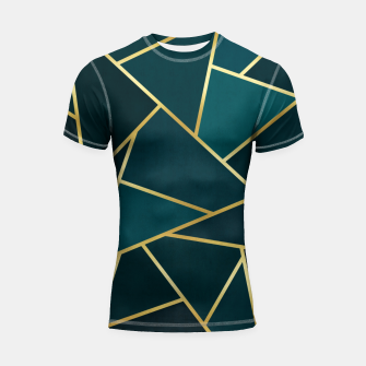 Thumbnail image of Green and gold triangular pattern Shortsleeve rashguard, Live Heroes