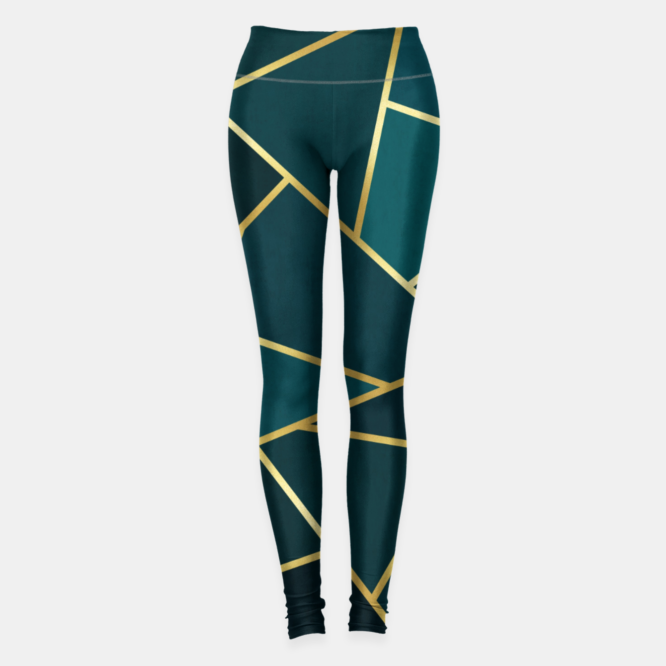 Image of Green and gold triangular pattern Leggings - Live Heroes