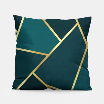 Thumbnail image of Green and gold triangular pattern Pillow, Live Heroes