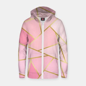 Pink and gold triangular pattern Cotton zip up hoodie thumbnail image