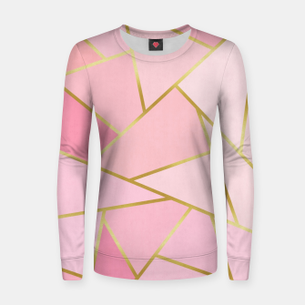 Pink and gold triangular pattern Woman cotton sweater thumbnail image