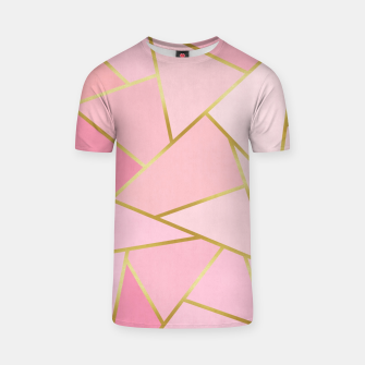 Pink and gold triangular pattern T-shirt thumbnail image