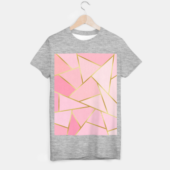 Pink and gold triangular pattern T-shirt regular thumbnail image