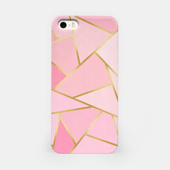 Pink and gold triangular pattern iPhone Case thumbnail image