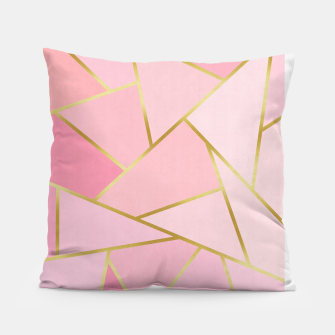Pink and gold triangular pattern Pillow thumbnail image