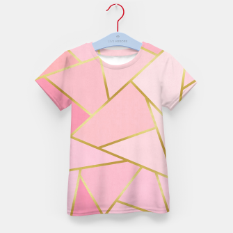 Pink and gold triangular pattern Kid's t-shirt thumbnail image