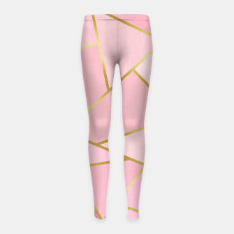 Pink and gold triangular pattern Girl's leggings thumbnail image