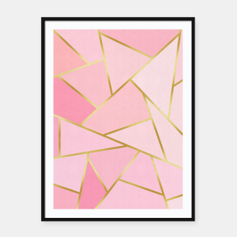 Pink and gold triangular pattern Framed poster thumbnail image