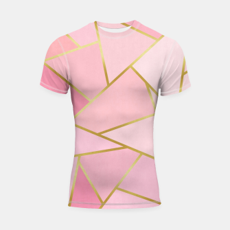 Pink and gold triangular pattern Shortsleeve rashguard thumbnail image