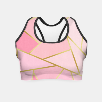 Pink and gold triangular pattern Crop Top thumbnail image