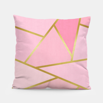 Thumbnail image of Pink and gold triangular pattern Pillow, Live Heroes