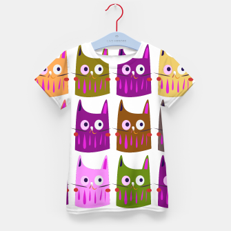 Thumbnail image of Kids t-shirt with Kittens purple. Cartoon kittens, Live Heroes