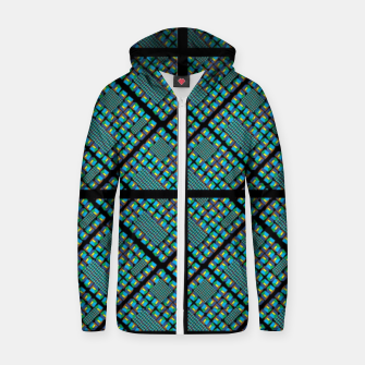 Thumbnail image of chequered teal Cotton zip up hoodie, Live Heroes