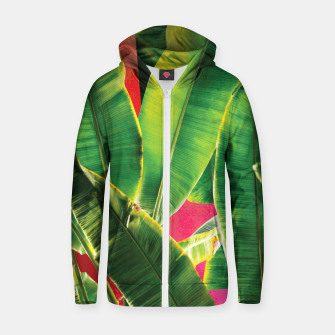 Thumbnail image of Banana leaf with pink color #society6 Cotton zip up hoodie, Live Heroes