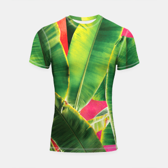 Thumbnail image of Banana leaf with pink color #society6 Shortsleeve rashguard, Live Heroes