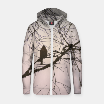 Miniatur Bird and branches Cotton zip up hoodie, Live Heroes