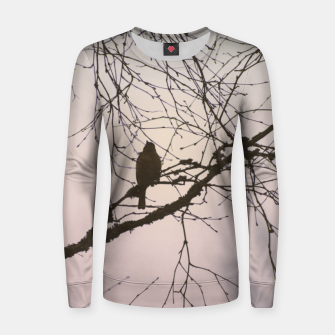 Miniatur Bird and branches Woman cotton sweater, Live Heroes