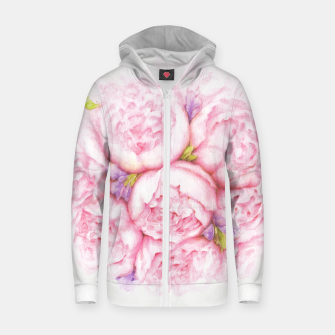 Thumbnail image of Pink Peonies Cotton zip up hoodie, Live Heroes