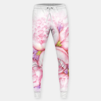 Thumbnail image of Pink Peonies Cotton sweatpants, Live Heroes