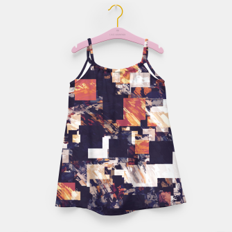 Thumbnail image of vintage psychedelic geometric square pixel pattern abstract in brown orange black Girl's dress, Live Heroes