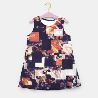Thumbnail image of vintage psychedelic geometric square pixel pattern abstract in brown orange black Girl's summer dress, Live Heroes